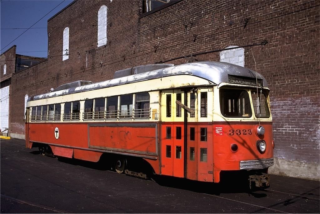 (264k, 1024x687)<br><b>Country:</b> United States<br><b>City:</b> Boston, MA<br><b>System:</b> MBTA<br><b>Line:</b> MBTA Green (A)<br><b>Location:</b> Watertown Yard <br><b>Car:</b> MBTA/BSRy PCC Dallas Double End (Pullman-Standard, 1945)  3323 <br><b>Photo by:</b> Joe Testagrose<br><b>Date:</b> 10/5/1974<br><b>Viewed (this week/total):</b> 2 / 672