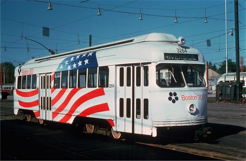 (179k, 1024x668)<br><b>Country:</b> United States<br><b>City:</b> Boston, MA<br><b>System:</b> MBTA<br><b>Line:</b> MBTA Green (D)<br><b>Location:</b> Riverside Yard <br><b>Car:</b> MBTA/BSRy PCC Wartime (Pullman-Standard, 1945-46)  3264 <br><b>Photo by:</b> Joe Testagrose<br><b>Date:</b> 7/26/1975<br><b>Viewed (this week/total):</b> 2 / 544