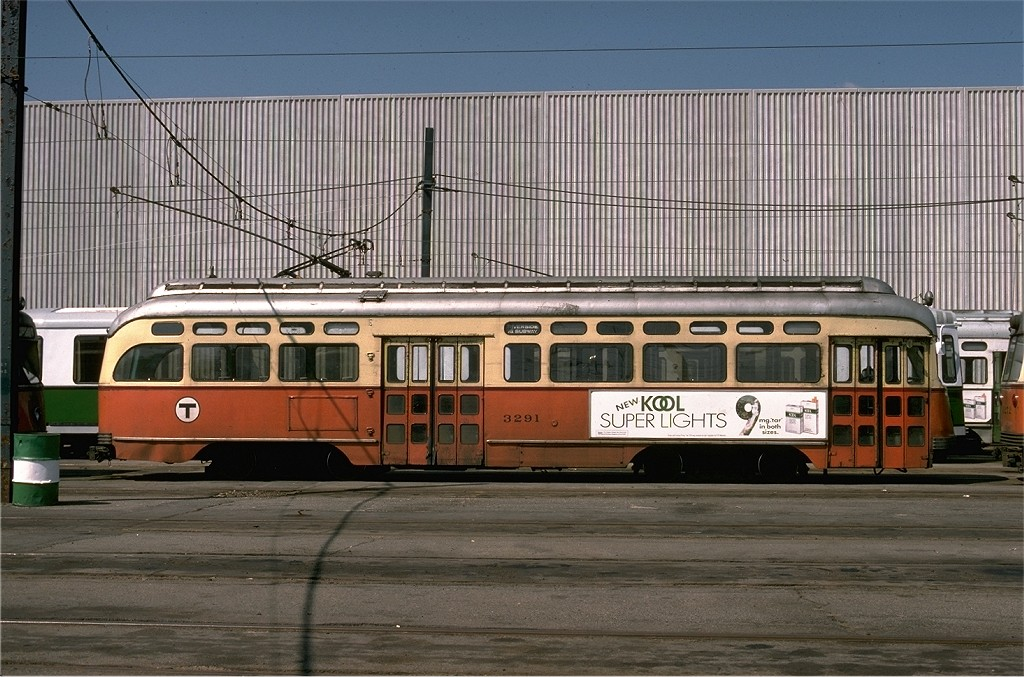 (219k, 1024x677)<br><b>Country:</b> United States<br><b>City:</b> Boston, MA<br><b>System:</b> MBTA<br><b>Line:</b> MBTA Green (D)<br><b>Location:</b> Riverside <br><b>Car:</b> MBTA/BSRy PCC Post-War Picture Window (Pullman-Standard, 1951)  3291 <br><b>Photo by:</b> Joe Testagrose<br><b>Date:</b> 9/8/1977<br><b>Viewed (this week/total):</b> 0 / 477