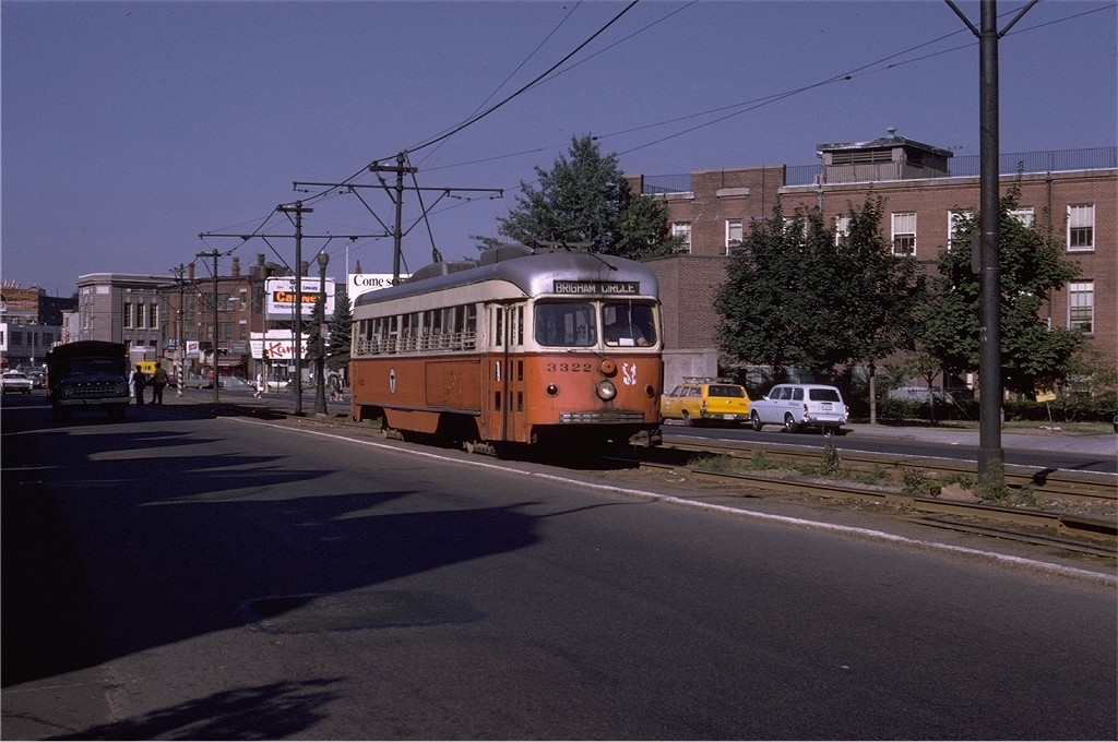 (187k, 1024x680)<br><b>Country:</b> United States<br><b>City:</b> Boston, MA<br><b>System:</b> MBTA<br><b>Line:</b> MBTA Green (D)<br><b>Location:</b> Between Riverside & Woodland <br><b>Car:</b> MBTA/BSRy PCC Dallas Double End (Pullman-Standard, 1945)  3322 <br><b>Photo by:</b> Joe Testagrose<br><b>Date:</b> 8/13/1970<br><b>Viewed (this week/total):</b> 1 / 551