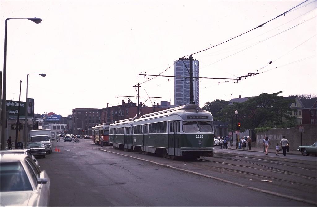 (131k, 1024x668)<br><b>Country:</b> United States<br><b>City:</b> Boston, MA<br><b>System:</b> MBTA<br><b>Line:</b> MBTA Green (D)<br><b>Location:</b> Woodland <br><b>Car:</b> MBTA/BSRy PCC Wartime (Pullman-Standard, 1945-46)  3259 <br><b>Photo by:</b> Steve Zabel<br><b>Collection of:</b> Joe Testagrose<br><b>Date:</b> 7/16/1979<br><b>Viewed (this week/total):</b> 0 / 547
