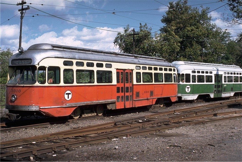 (286k, 1024x685)<br><b>Country:</b> United States<br><b>City:</b> Boston, MA<br><b>System:</b> MBTA<br><b>Line:</b> MBTA Green (E)<br><b>Location:</b> Arborway/Arborway Yard<br><b>Car:</b> MBTA/BSRy PCC Post-War Picture Window (Pullman-Standard, 1951)  3310 <br><b>Photo by:</b> Steve Zabel<br><b>Collection of:</b> Joe Testagrose<br><b>Date:</b> 10/4/1980<br><b>Viewed (this week/total):</b> 0 / 586