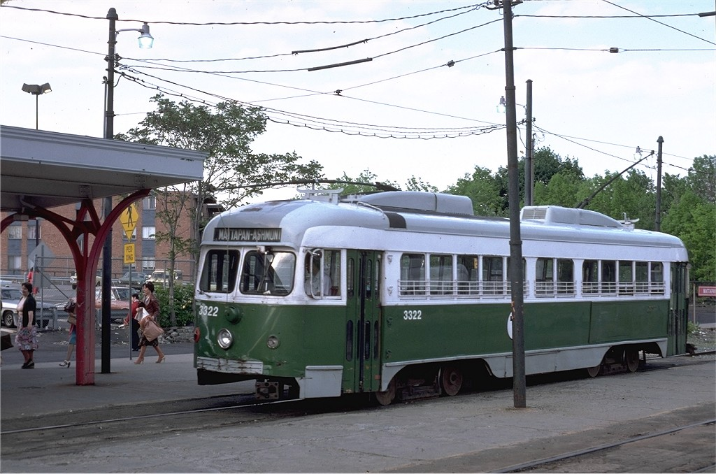 (195k, 1024x678)<br><b>Country:</b> United States<br><b>City:</b> Boston, MA<br><b>System:</b> MBTA<br><b>Line:</b> MBTA Mattapan-Ashmont Line<br><b>Location:</b> Mattapan <br><b>Car:</b> MBTA/BSRy PCC Dallas Double End (Pullman-Standard, 1945)  3322 <br><b>Photo by:</b> Steve Zabel<br><b>Collection of:</b> Joe Testagrose<br><b>Date:</b> 5/22/1979<br><b>Viewed (this week/total):</b> 1 / 662
