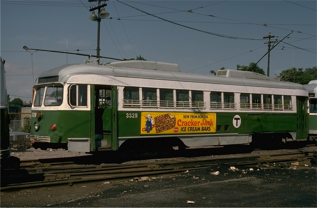 (186k, 1024x673)<br><b>Country:</b> United States<br><b>City:</b> Boston, MA<br><b>System:</b> MBTA<br><b>Line:</b> MBTA Green (E)<br><b>Location:</b> Arborway/Arborway Yard<br><b>Car:</b> MBTA/BSRy PCC Dallas Double End (Pullman-Standard, 1945)  3329 <br><b>Photo by:</b> Joe Testagrose<br><b>Date:</b> 9/7/1977<br><b>Viewed (this week/total):</b> 1 / 644