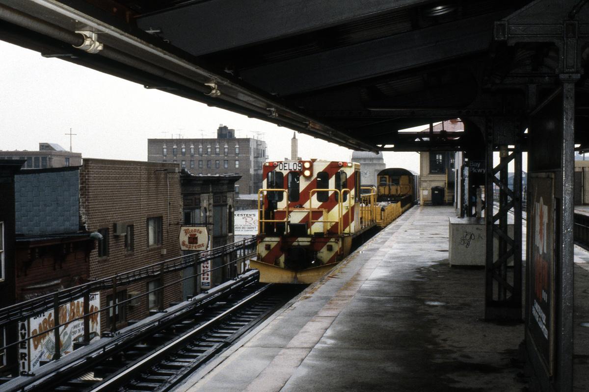 (429k, 1024x682)<br><b>Country:</b> United States<br><b>City:</b> New York<br><b>System:</b> New York City Transit<br><b>Line:</b> BMT West End Line<br><b>Location:</b> Bay Parkway <br><b>Car:</b> R-77E Locomotive  E09 <br><b>Collection of:</b> Collection of nycsubway.org <br><b>Notes:</b> 1980s<br><b>Viewed (this week/total):</b> 1 / 1322
