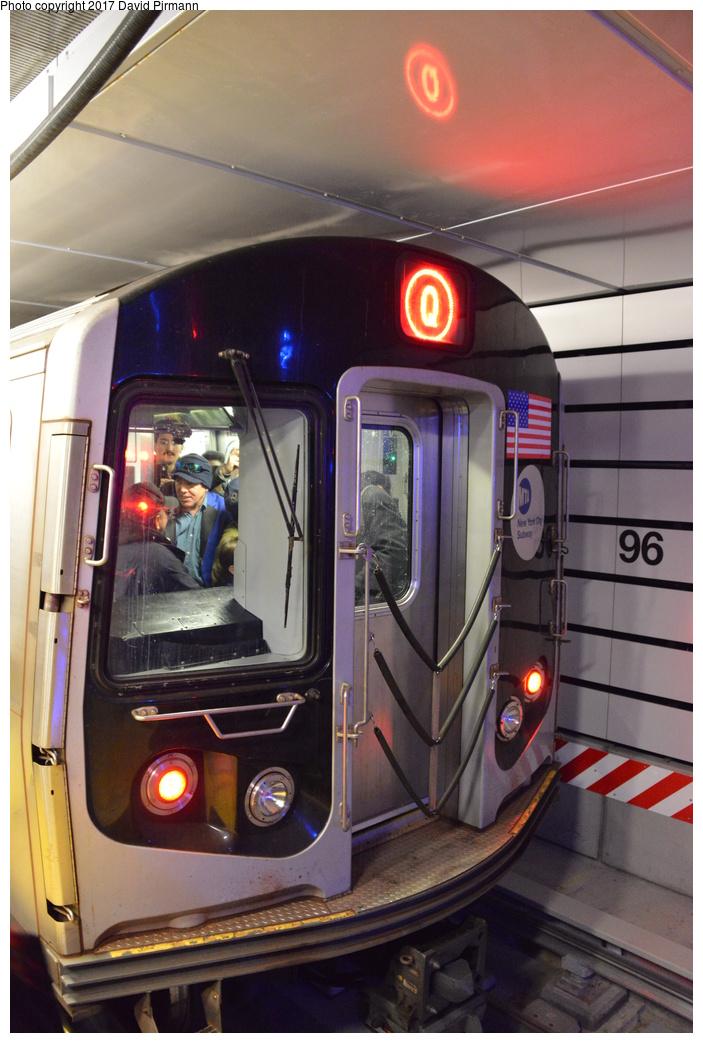 (265k, 703x1043)<br><b>Country:</b> United States<br><b>City:</b> New York<br><b>System:</b> New York City Transit<br><b>Line:</b> 2nd Avenue Subway<br><b>Location:</b> 96th Street <br><b>Route:</b> Q<br><b>Car:</b> R-160B (Option 1) (Kawasaki, 2008-2009)  9108 <br><b>Photo by:</b> David Pirmann<br><b>Date:</b> 1/1/2017<br><b>Notes:</b> First through train from 57th Street.<br><b>Viewed (this week/total):</b> 5 / 580