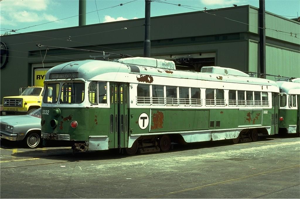 (204k, 1024x682)<br><b>Country:</b> United States<br><b>City:</b> Boston, MA<br><b>System:</b> MBTA<br><b>Line:</b> MBTA Green (A)<br><b>Location:</b> Watertown Yard <br><b>Car:</b> MBTA/BSRy PCC Dallas Double End (Pullman-Standard, 1945)  3332 <br><b>Photo by:</b> Steve Zabel<br><b>Collection of:</b> Joe Testagrose<br><b>Date:</b> 5/22/1979<br><b>Viewed (this week/total):</b> 3 / 545