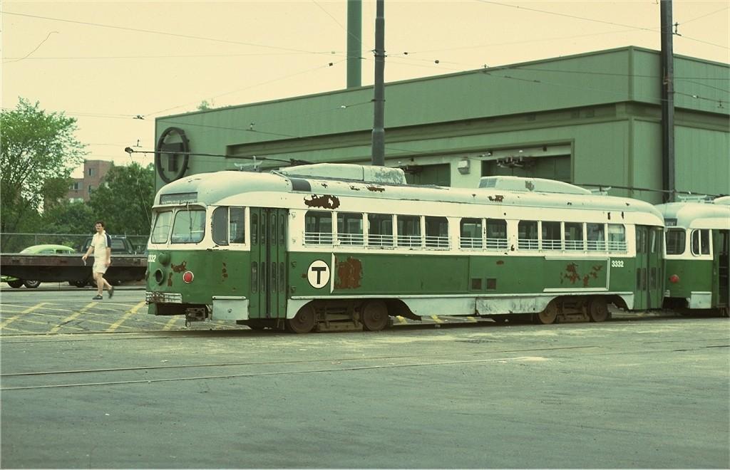 (168k, 1024x660)<br><b>Country:</b> United States<br><b>City:</b> Boston, MA<br><b>System:</b> MBTA<br><b>Line:</b> MBTA Green (A)<br><b>Location:</b> Watertown Yard <br><b>Car:</b> MBTA/BSRy PCC Dallas Double End (Pullman-Standard, 1945)  3332 <br><b>Photo by:</b> Joe Testagrose<br><b>Date:</b> 7/29/1979<br><b>Viewed (this week/total):</b> 1 / 467