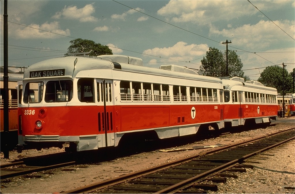(241k, 1024x674)<br><b>Country:</b> United States<br><b>City:</b> Boston, MA<br><b>System:</b> MBTA<br><b>Line:</b> MBTA Mattapan-Ashmont Line<br><b>Location:</b> Mattapan <br><b>Car:</b> MBTA/BSRy PCC Dallas Double End (Pullman-Standard, 1945)  3336 <br><b>Photo by:</b> Joe Testagrose<br><b>Date:</b> 7/24/1977<br><b>Viewed (this week/total):</b> 0 / 767