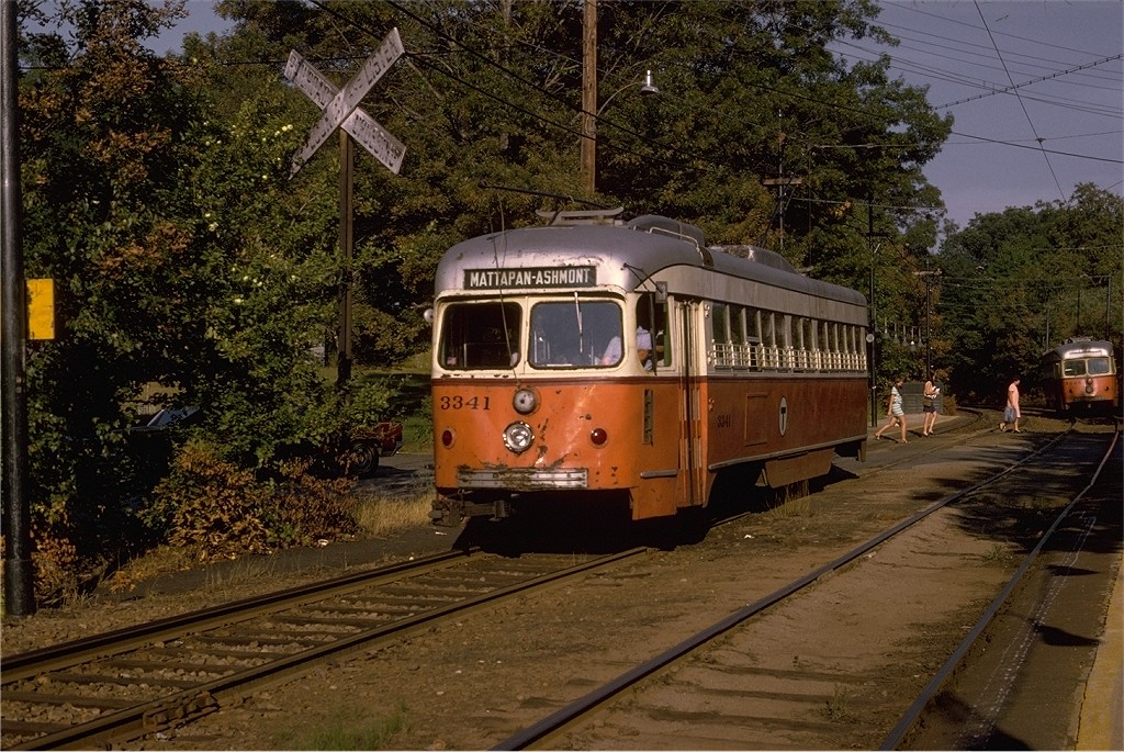 (272k, 1024x685)<br><b>Country:</b> United States<br><b>City:</b> Boston, MA<br><b>System:</b> MBTA<br><b>Line:</b> MBTA Mattapan-Ashmont Line<br><b>Location:</b> Capen Street <br><b>Car:</b> MBTA/BSRy PCC Dallas Double End (Pullman-Standard, 1945)  3341 <br><b>Photo by:</b> Joe Testagrose<br><b>Date:</b> 8/10/1970<br><b>Viewed (this week/total):</b> 2 / 964