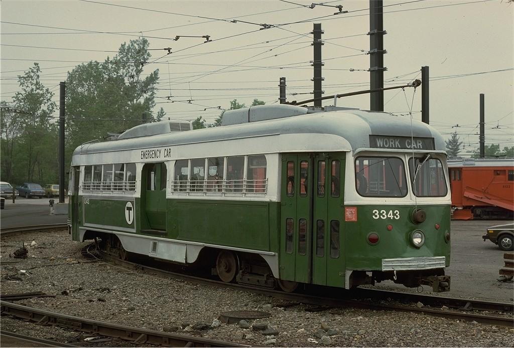 (225k, 1024x694)<br><b>Country:</b> United States<br><b>City:</b> Boston, MA<br><b>System:</b> MBTA<br><b>Line:</b> MBTA Green (D)<br><b>Location:</b> Riverside <br><b>Car:</b> MBTA/BSRy PCC Dallas Double End (Pullman-Standard, 1945)  3343 <br><b>Photo by:</b> Steve Zabel<br><b>Collection of:</b> Joe Testagrose<br><b>Date:</b> 5/21/1979<br><b>Viewed (this week/total):</b> 2 / 676