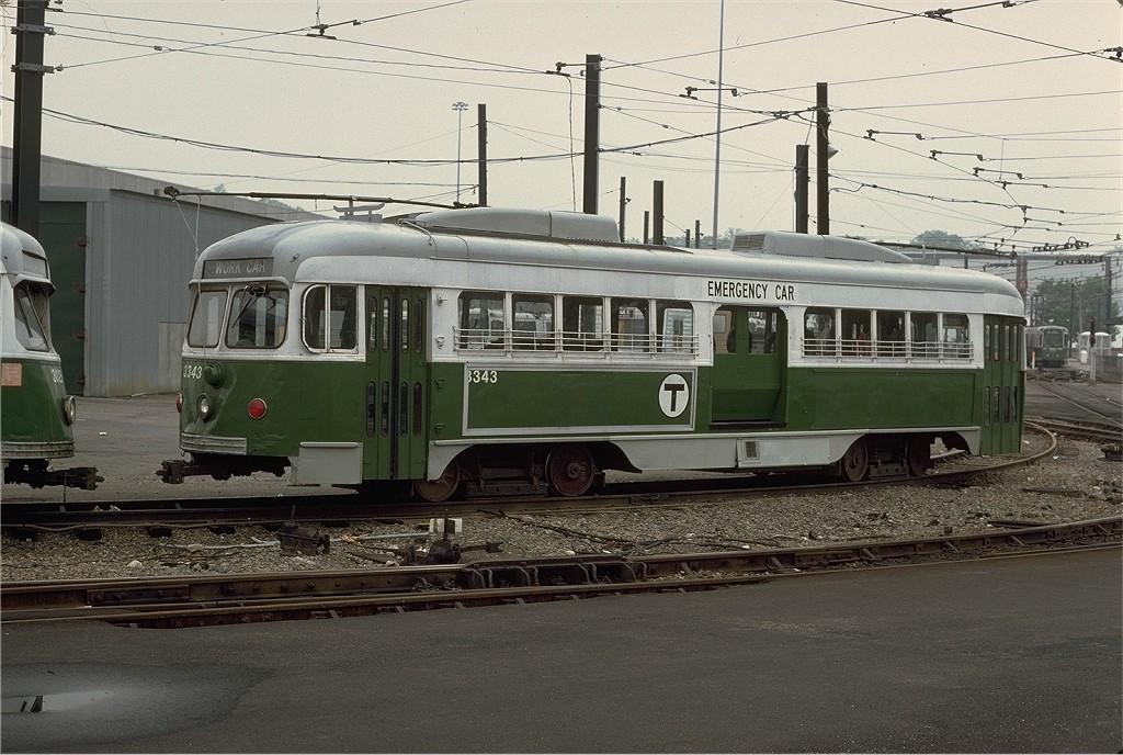 (214k, 1024x688)<br><b>Country:</b> United States<br><b>City:</b> Boston, MA<br><b>System:</b> MBTA<br><b>Line:</b> MBTA Green (D)<br><b>Location:</b> Riverside <br><b>Car:</b> MBTA/BSRy PCC Dallas Double End (Pullman-Standard, 1945)  3343 <br><b>Photo by:</b> Steve Zabel<br><b>Collection of:</b> Joe Testagrose<br><b>Date:</b> 5/21/1979<br><b>Viewed (this week/total):</b> 0 / 533