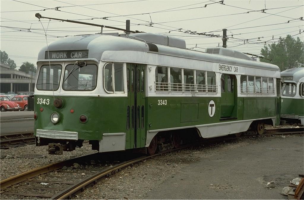(208k, 1024x676)<br><b>Country:</b> United States<br><b>City:</b> Boston, MA<br><b>System:</b> MBTA<br><b>Line:</b> MBTA Green (D)<br><b>Location:</b> Riverside Yard <br><b>Car:</b> MBTA/BSRy PCC Dallas Double End (Pullman-Standard, 1945)  3343 <br><b>Photo by:</b> Steve Zabel<br><b>Collection of:</b> Joe Testagrose<br><b>Date:</b> 5/21/1979<br><b>Viewed (this week/total):</b> 1 / 486