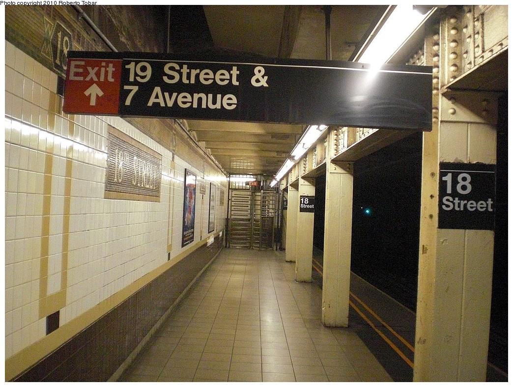 (321k, 1044x788)<br><b>Country:</b> United States<br><b>City:</b> New York<br><b>System:</b> New York City Transit<br><b>Line:</b> IRT West Side Line<br><b>Location:</b> 18th Street <br><b>Photo by:</b> Roberto C. Tobar<br><b>Date:</b> 10/17/2010<br><b>Viewed (this week/total):</b> 0 / 1081