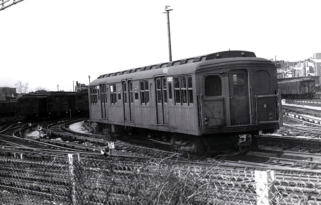 (177k, 1024x654)<br><b>Country:</b> United States<br><b>City:</b> New York<br><b>System:</b> New York City Transit<br><b>Location:</b> Fresh Pond Yard<br><b>Car:</b> BMT A/B-Type Standard 2392 <br><b>Collection of:</b> George Conrad Collection<br><b>Date:</b> 4/8/1966<br><b>Viewed (this week/total):</b> 5 / 1626