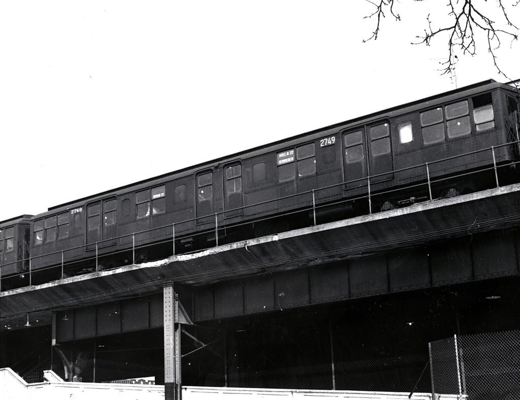 (156k, 1024x789)<br><b>Country:</b> United States<br><b>City:</b> New York<br><b>System:</b> New York City Transit<br><b>Line:</b> BMT Myrtle Avenue Line<br><b>Location:</b> Fresh Pond Road <br><b>Car:</b> BMT A/B-Type Standard 2749 <br><b>Collection of:</b> George Conrad Collection<br><b>Date:</b> 4/4/1969<br><b>Viewed (this week/total):</b> 0 / 1421