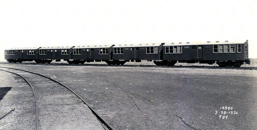(173k, 1024x519)<br><b>Country:</b> United States<br><b>City:</b> New York<br><b>System:</b> New York City Transit<br><b>Location:</b> Pullman-Standard plant, Chicago, IL<br><b>Car:</b> BMT Multi 7014 <br><b>Collection of:</b> George Conrad Collection<br><b>Date:</b> 3/28/1936<br><b>Viewed (this week/total):</b> 0 / 1240