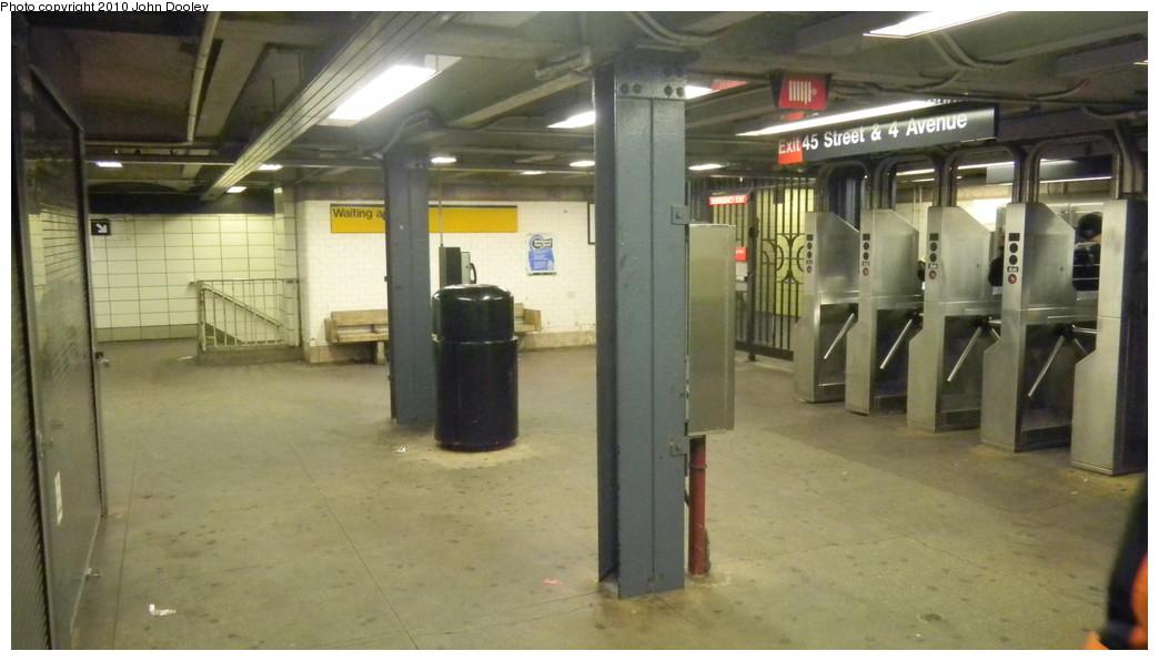 (195k, 1044x596)<br><b>Country:</b> United States<br><b>City:</b> New York<br><b>System:</b> New York City Transit<br><b>Line:</b> BMT 4th Avenue<br><b>Location:</b> 45th Street <br><b>Photo by:</b> John Dooley<br><b>Date:</b> 11/28/2010<br><b>Notes:</b> Mezzanine view.<br><b>Viewed (this week/total):</b> 0 / 1355
