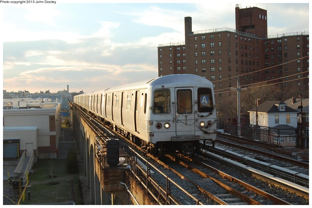 (225k, 1044x699)<br><b>Country:</b> United States<br><b>City:</b> New York<br><b>System:</b> New York City Transit<br><b>Line:</b> IND Rockaway<br><b>Location:</b> Beach 67th Street/Gaston Avenue <br><b>Route:</b> A<br><b>Car:</b> R-46 (Pullman-Standard, 1974-75)  <br><b>Photo by:</b> John Dooley<br><b>Date:</b> 11/29/2010<br><b>Viewed (this week/total):</b> 1 / 1133