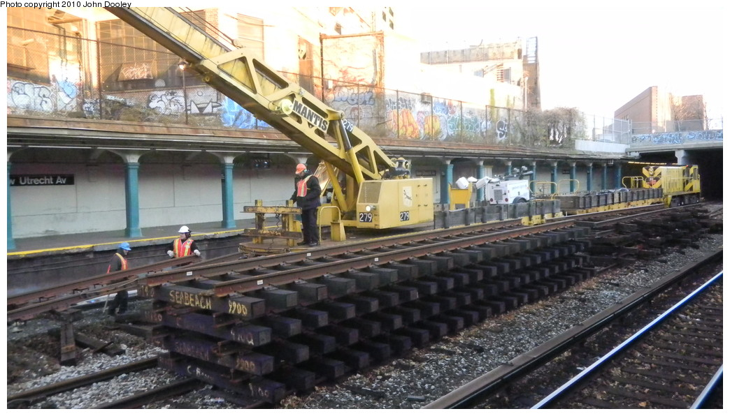 (247k, 1044x596)<br><b>Country:</b> United States<br><b>City:</b> New York<br><b>System:</b> New York City Transit<br><b>Line:</b> BMT Sea Beach Line<br><b>Location:</b> New Utrecht Avenue <br><b>Route:</b> Work Service<br><b>Car:</b> R-102 Crane Car  279 <br><b>Photo by:</b> John Dooley<br><b>Date:</b> 11/28/2010<br><b>Viewed (this week/total):</b> 0 / 1166