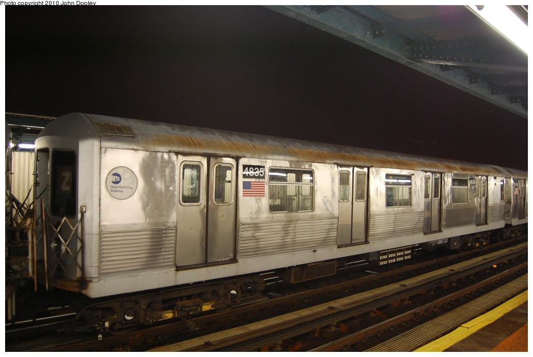 (225k, 1044x699)<br><b>Country:</b> United States<br><b>City:</b> New York<br><b>System:</b> New York City Transit<br><b>Line:</b> BMT Nassau Street/Jamaica Line<br><b>Location:</b> 111th Street <br><b>Route:</b> J layup<br><b>Car:</b> R-42 (St. Louis, 1969-1970)  4835 <br><b>Photo by:</b> John Dooley<br><b>Date:</b> 11/30/2010<br><b>Viewed (this week/total):</b> 0 / 1000