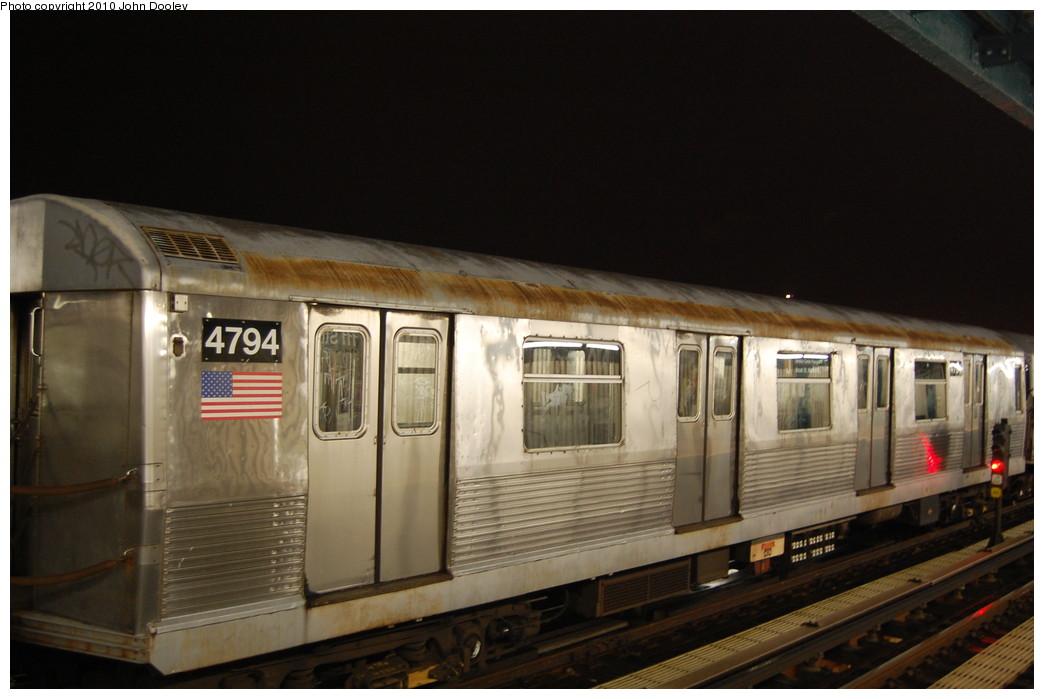 (214k, 1044x699)<br><b>Country:</b> United States<br><b>City:</b> New York<br><b>System:</b> New York City Transit<br><b>Line:</b> BMT Nassau Street/Jamaica Line<br><b>Location:</b> 111th Street <br><b>Route:</b> J layup<br><b>Car:</b> R-42 (St. Louis, 1969-1970)  4794 <br><b>Photo by:</b> John Dooley<br><b>Date:</b> 11/30/2010<br><b>Viewed (this week/total):</b> 1 / 952
