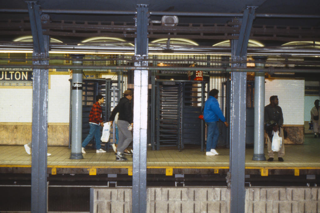 (266k, 1024x690)<br><b>Country:</b> United States<br><b>City:</b> New York<br><b>System:</b> New York City Transit<br><b>Line:</b> IRT East Side Line<br><b>Location:</b> Fulton Street <br><b>Collection of:</b> Collection of nycsubway.org <br><b>Notes:</b> 1980s<br><b>Viewed (this week/total):</b> 0 / 2785