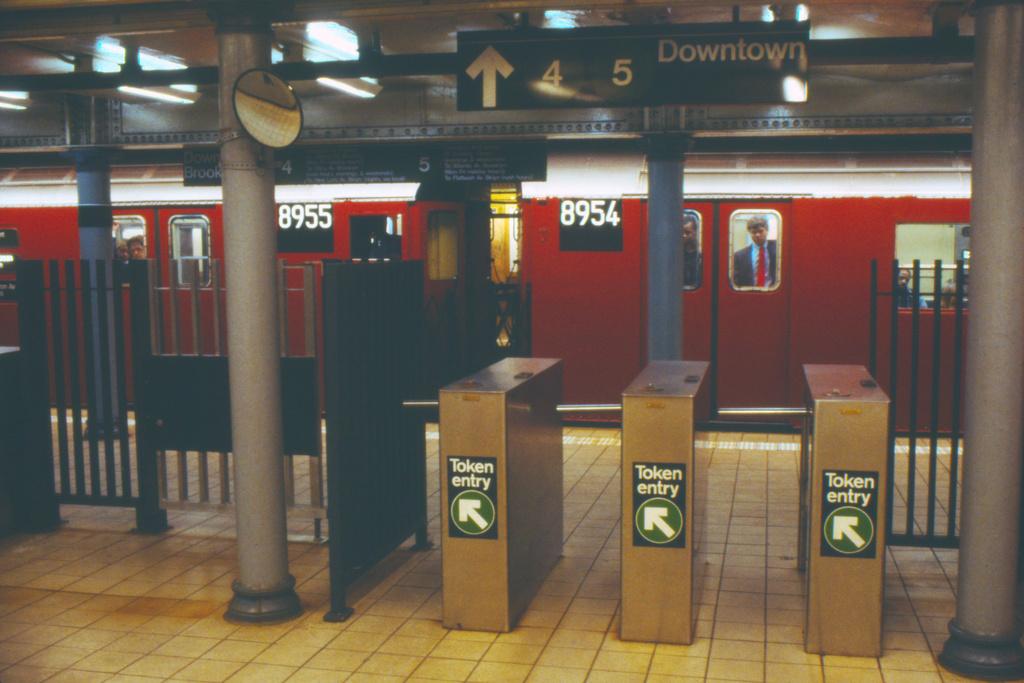 (353k, 1024x683)<br><b>Country:</b> United States<br><b>City:</b> New York<br><b>System:</b> New York City Transit<br><b>Line:</b> IRT East Side Line<br><b>Location:</b> Fulton Street <br><b>Route:</b> 4<br><b>Car:</b> R-33 Main Line (St. Louis, 1962-63) 8955 <br><b>Collection of:</b> Collection of nycsubway.org <br><b>Notes:</b> 1980s<br><b>Viewed (this week/total):</b> 5 / 4359