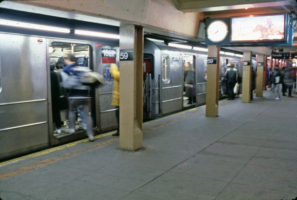 (215k, 1024x690)<br><b>Country:</b> United States<br><b>City:</b> New York<br><b>System:</b> New York City Transit<br><b>Line:</b> IRT West Side Line<br><b>Location:</b> 59th Street/Columbus Circle <br><b>Route:</b> 1<br><b>Car:</b> R-62A (Bombardier, 1984-1987)   <br><b>Collection of:</b> Collection of nycsubway.org <br><b>Notes:</b> 1980s<br><b>Viewed (this week/total):</b> 6 / 2588