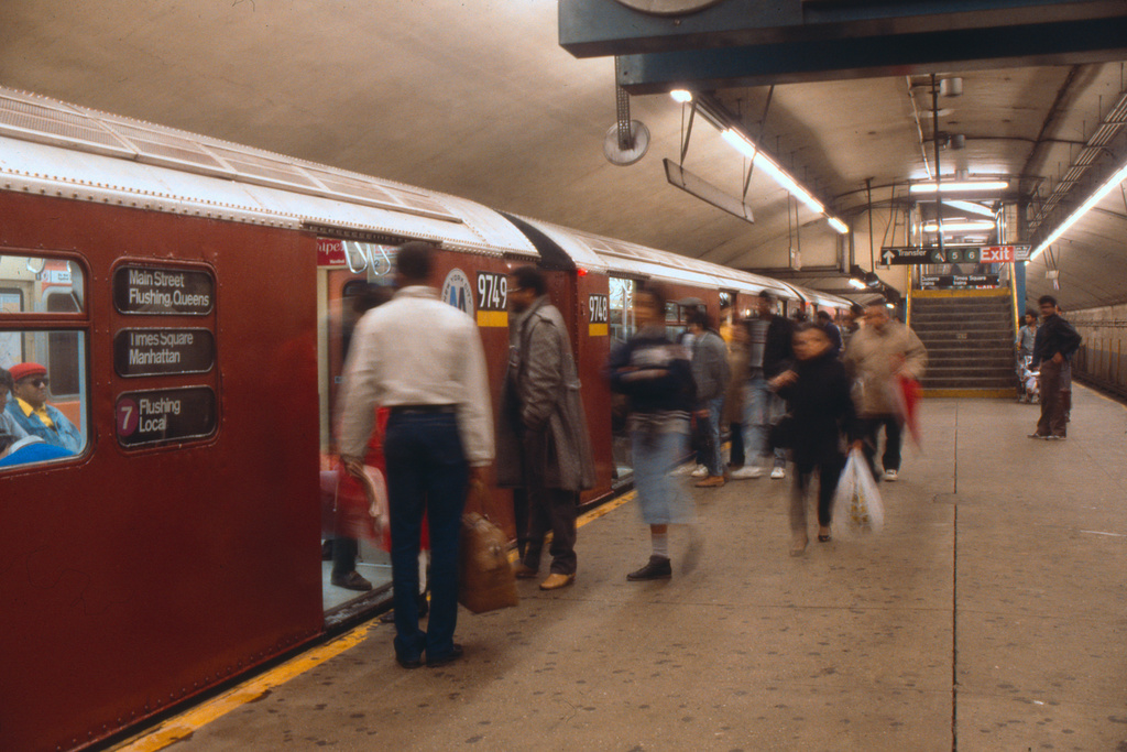 (218k, 1024x661)<br><b>Country:</b> United States<br><b>City:</b> New York<br><b>System:</b> New York City Transit<br><b>Line:</b> IRT Flushing Line<br><b>Location:</b> Grand Central <br><b>Route:</b> 7<br><b>Car:</b> R-36 World's Fair (St. Louis, 1963-64) 9748 <br><b>Collection of:</b> Collection of nycsubway.org <br><b>Notes:</b> 1980s<br><b>Viewed (this week/total):</b> 5 / 2784