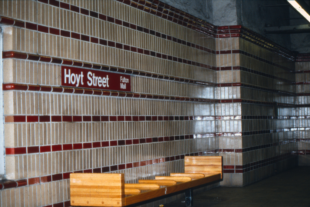 (427k, 1024x683)<br><b>Country:</b> United States<br><b>City:</b> New York<br><b>System:</b> New York City Transit<br><b>Line:</b> IRT Brooklyn Line<br><b>Location:</b> Hoyt Street <br><b>Collection of:</b> Collection of nycsubway.org <br><b>Notes:</b> 1980s<br><b>Viewed (this week/total):</b> 1 / 1618