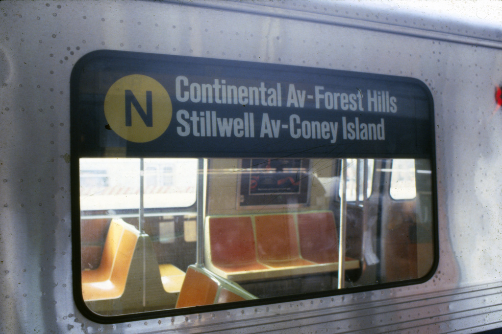 (285k, 1024x683)<br><b>Country:</b> United States<br><b>City:</b> New York<br><b>System:</b> New York City Transit<br><b>Route:</b> N<br><b>Car:</b> R-46 (Pullman-Standard, 1974-75) Interior <br><b>Collection of:</b> Collection of nycsubway.org <br><b>Notes:</b> Pre-GOH rollsign -1980s<br><b>Viewed (this week/total):</b> 3 / 2271