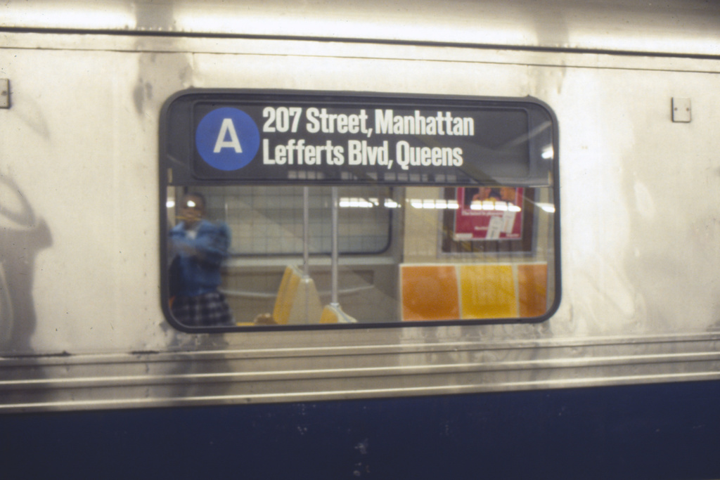 (156k, 1024x682)<br><b>Country:</b> United States<br><b>City:</b> New York<br><b>System:</b> New York City Transit<br><b>Route:</b> A<br><b>Car:</b> R-44 (St. Louis, 1971-73) Interior <br><b>Collection of:</b> Collection of nycsubway.org <br><b>Notes:</b> Pre-GOH rollsign -1980s<br><b>Viewed (this week/total):</b> 1 / 2152