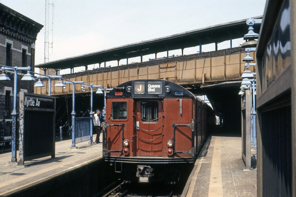 (245k, 1024x669)<br><b>Country:</b> United States<br><b>City:</b> New York<br><b>System:</b> New York City Transit<br><b>Line:</b> BMT Nassau Street/Jamaica Line<br><b>Location:</b> Myrtle Avenue <br><b>Route:</b> J<br><b>Car:</b> R-30 (St. Louis, 1961)  <br><b>Collection of:</b> Collection of nycsubway.org <br><b>Notes:</b> 1980s<br><b>Viewed (this week/total):</b> 0 / 3384