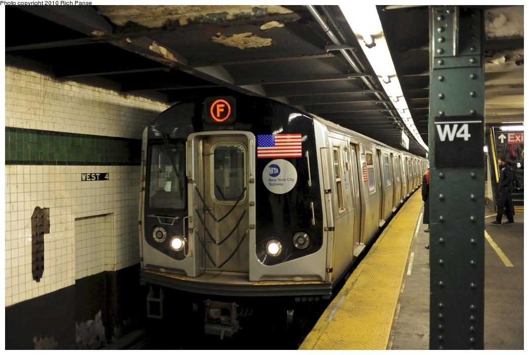 (164k, 1044x701)<br><b>Country:</b> United States<br><b>City:</b> New York<br><b>System:</b> New York City Transit<br><b>Line:</b> IND 6th Avenue Line<br><b>Location:</b> West 4th Street/Washington Square <br><b>Route:</b> F<br><b>Car:</b> R-160A (Option 1) (Alstom, 2008-2009, 5 car sets)  9368 <br><b>Photo by:</b> Richard Panse<br><b>Date:</b> 12/5/2010<br><b>Viewed (this week/total):</b> 0 / 966