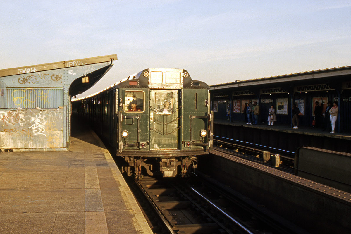 (233k, 1024x687)<br><b>Country:</b> United States<br><b>City:</b> New York<br><b>System:</b> New York City Transit<br><b>Line:</b> IND Fulton Street Line<br><b>Location:</b> Rockaway Boulevard <br><b>Route:</b> CC<br><b>Car:</b> R-10 (American Car & Foundry, 1948)  <br><b>Collection of:</b> Collection of nycsubway.org <br><b>Notes:</b> 1980s<br><b>Viewed (this week/total):</b> 3 / 2568