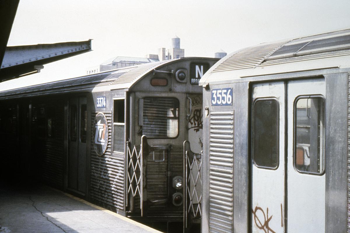 (386k, 1024x683)<br><b>Country:</b> United States<br><b>City:</b> New York<br><b>System:</b> New York City Transit<br><b>Location:</b> Coney Island/Stillwell Avenue<br><b>Route:</b> N<br><b>Car:</b> R-32 (Budd, 1964)  3374/3556 <br><b>Collection of:</b> Collection of nycsubway.org <br><b>Notes:</b> 1980s<br><b>Viewed (this week/total):</b> 4 / 2761