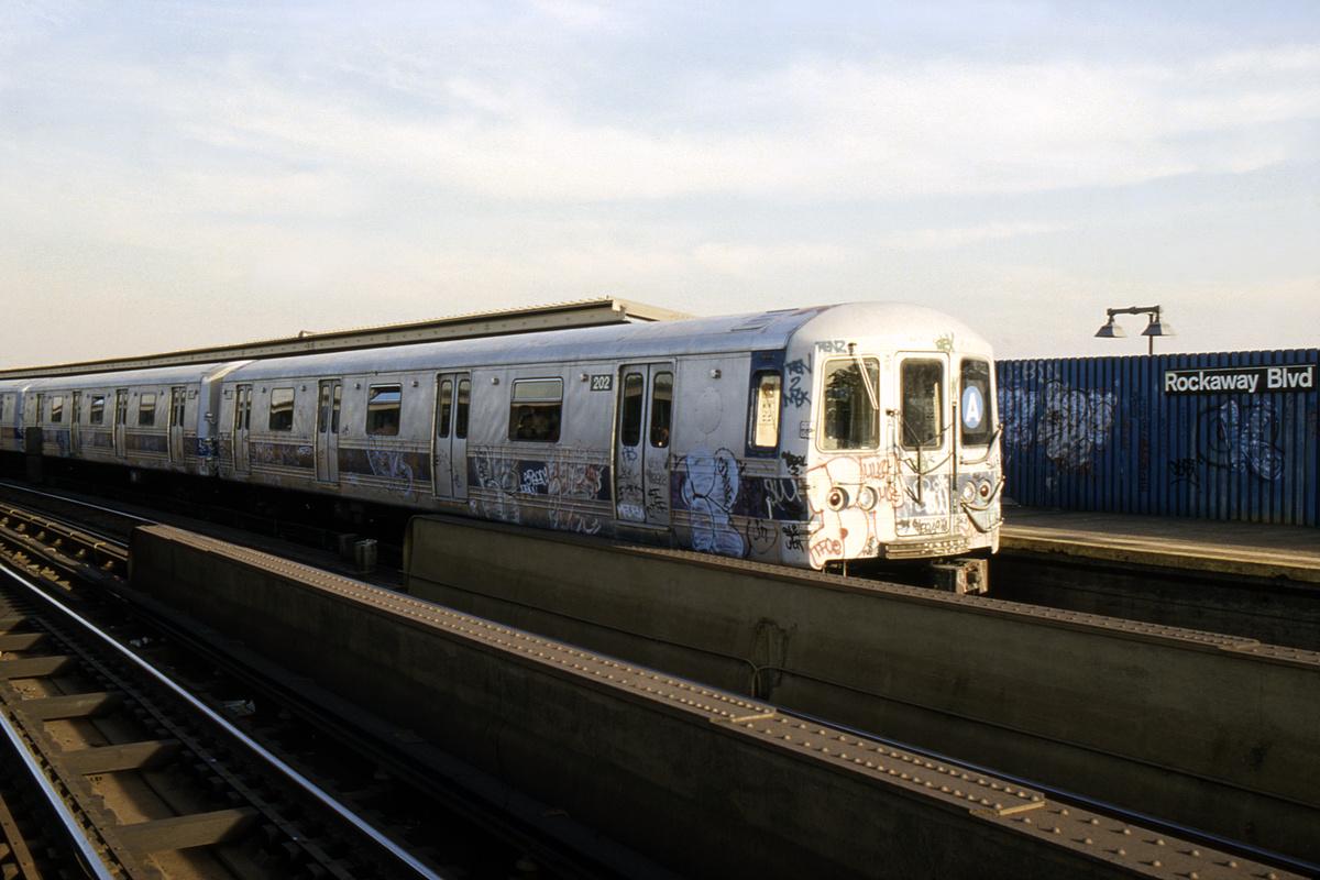 (331k, 1024x683)<br><b>Country:</b> United States<br><b>City:</b> New York<br><b>System:</b> New York City Transit<br><b>Line:</b> IND Fulton Street Line<br><b>Location:</b> Rockaway Boulevard <br><b>Route:</b> A<br><b>Car:</b> R-44 (St. Louis, 1971-73) 202 <br><b>Collection of:</b> Collection of nycsubway.org <br><b>Notes:</b> 1980s<br><b>Viewed (this week/total):</b> 0 / 2935