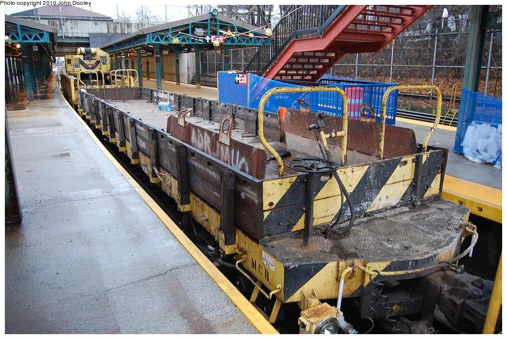 (312k, 1044x699)<br><b>Country:</b> United States<br><b>City:</b> New York<br><b>System:</b> New York City Transit<br><b>Line:</b> BMT West End Line<br><b>Location:</b> 9th Avenue <br><b>Route:</b> Work Service<br><b>Car:</b> R-72 Trailer Flat Car (Garrett, 1983)   <br><b>Photo by:</b> John Dooley<br><b>Date:</b> 12/12/2010<br><b>Viewed (this week/total):</b> 0 / 1021
