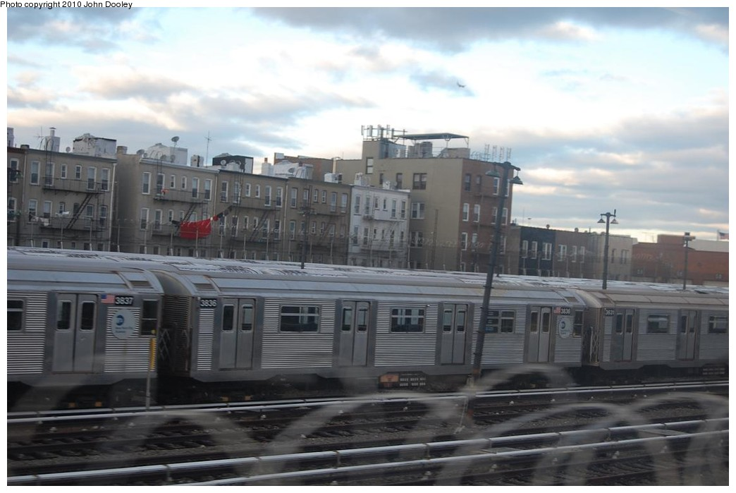 (179k, 1044x699)<br><b>Country:</b> United States<br><b>City:</b> New York<br><b>System:</b> New York City Transit<br><b>Location:</b> Fresh Pond Yard<br><b>Car:</b> R-32 (Budd, 1964)  3836 <br><b>Photo by:</b> John Dooley<br><b>Date:</b> 12/4/2010<br><b>Viewed (this week/total):</b> 0 / 1269