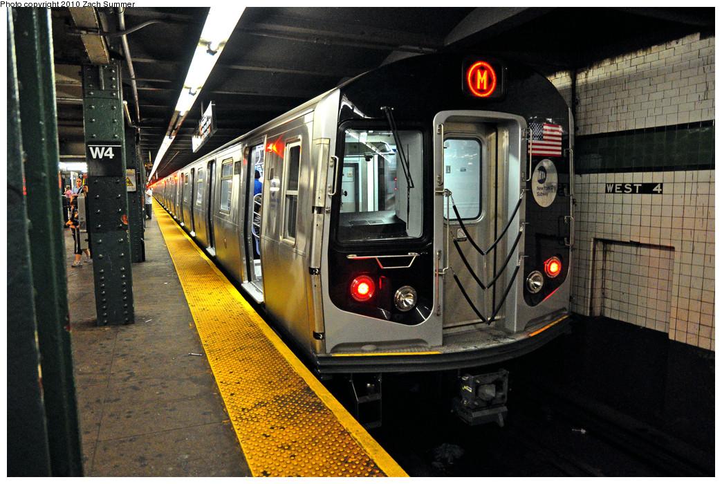 (318k, 1044x700)<br><b>Country:</b> United States<br><b>City:</b> New York<br><b>System:</b> New York City Transit<br><b>Line:</b> IND 6th Avenue Line<br><b>Location:</b> West 4th Street/Washington Square <br><b>Route:</b> M<br><b>Car:</b> R-160A (Option 2) (Alstom, 2009, 4-car sets)  9971 <br><b>Photo by:</b> Zach Summer<br><b>Date:</b> 7/9/2010<br><b>Viewed (this week/total):</b> 3 / 1416