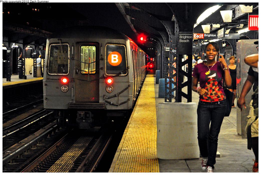 (326k, 1044x700)<br><b>Country:</b> United States<br><b>City:</b> New York<br><b>System:</b> New York City Transit<br><b>Line:</b> BMT Brighton Line<br><b>Location:</b> Brighton Beach <br><b>Route:</b> B<br><b>Car:</b> R-68 (Westinghouse-Amrail, 1986-1988)  2824 <br><b>Photo by:</b> Zach Summer<br><b>Date:</b> 7/8/2010<br><b>Viewed (this week/total):</b> 0 / 1389