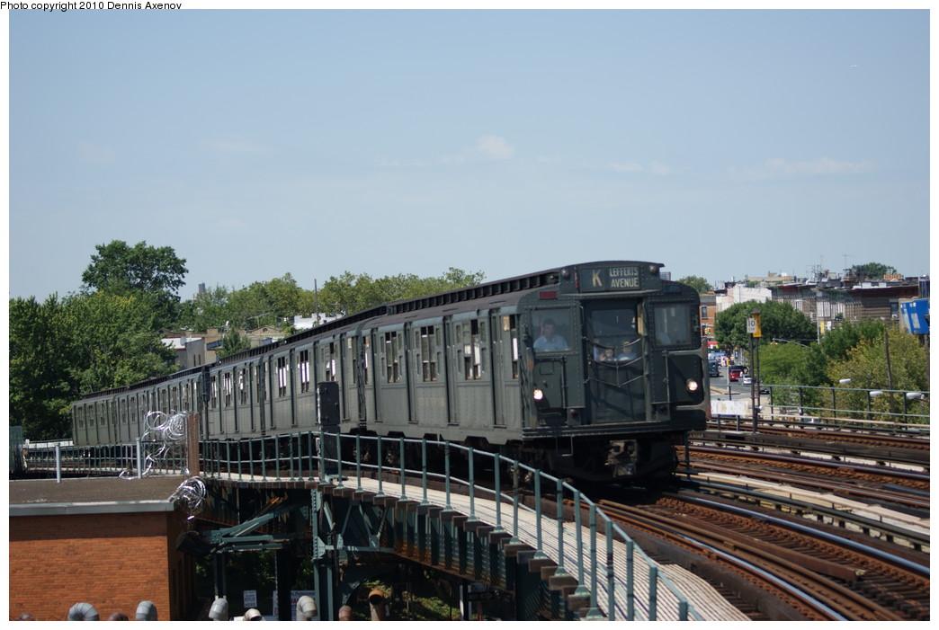(231k, 1044x701)<br><b>Country:</b> United States<br><b>City:</b> New York<br><b>System:</b> New York City Transit<br><b>Line:</b> IND Fulton Street Line<br><b>Location:</b> 80th Street/Hudson Street <br><b>Route:</b> Fan Trip<br><b>Car:</b> R-6-1 (Pressed Steel, 1936)  1300 <br><b>Photo by:</b> Dennis Axenov<br><b>Date:</b> 7/31/2010<br><b>Viewed (this week/total):</b> 4 / 1182