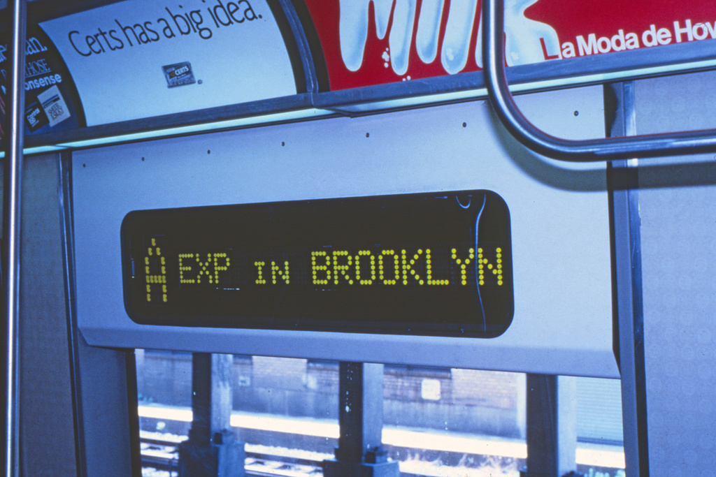 (215k, 1024x677)<br><b>Country:</b> United States<br><b>City:</b> New York<br><b>System:</b> New York City Transit<br><b>Location:</b> Pitkin Yard/Shops<br><b>Car:</b> R-44 (St. Louis, 1971-73)  <br><b>Collection of:</b> Collection of nycsubway.org <br><b>Notes:</b> Prototype digital sign-interior<br><b>Viewed (this week/total):</b> 3 / 1940