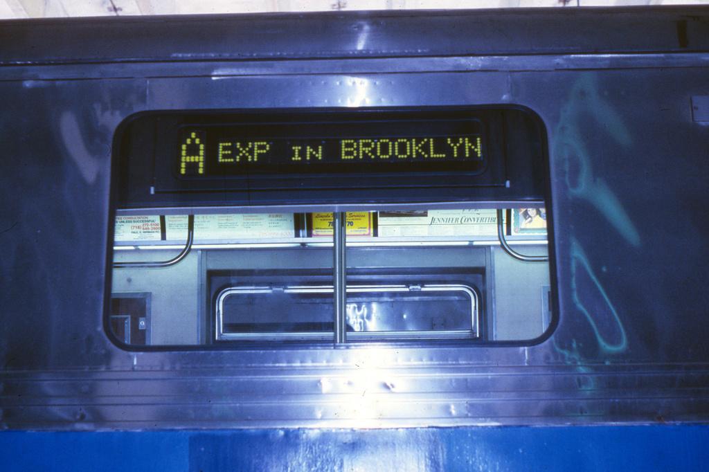 (357k, 1024x682)<br><b>Country:</b> United States<br><b>City:</b> New York<br><b>System:</b> New York City Transit<br><b>Location:</b> Pitkin Yard/Shops<br><b>Car:</b> R-44 (St. Louis, 1971-73)  <br><b>Collection of:</b> Collection of nycsubway.org <br><b>Notes:</b> Prototype digital sign-exterior<br><b>Viewed (this week/total):</b> 0 / 1869