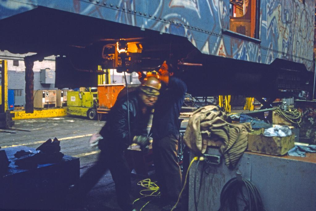 (253k, 1024x679)<br><b>Country:</b> United States<br><b>City:</b> New York<br><b>System:</b> New York City Transit<br><b>Location:</b> Coney Island Shop/Overhaul & Repair Shop<br><b>Car:</b> R-27/R-30 Series (Number Unknown)  <br><b>Collection of:</b> Collection of nycsubway.org <br><b>Notes:</b> 1980s<br><b>Viewed (this week/total):</b> 1 / 1621