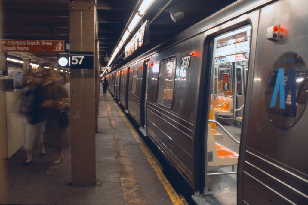 (323k, 1024x683)<br><b>Country:</b> United States<br><b>City:</b> New York<br><b>System:</b> New York City Transit<br><b>Line:</b> BMT Broadway Line<br><b>Location:</b> 57th Street <br><b>Car:</b> R-68 (Westinghouse-Amrail, 1986-1988)  2697 <br><b>Collection of:</b> Collection of nycsubway.org <br><b>Notes:</b> 1980s<br><b>Viewed (this week/total):</b> 2 / 2840