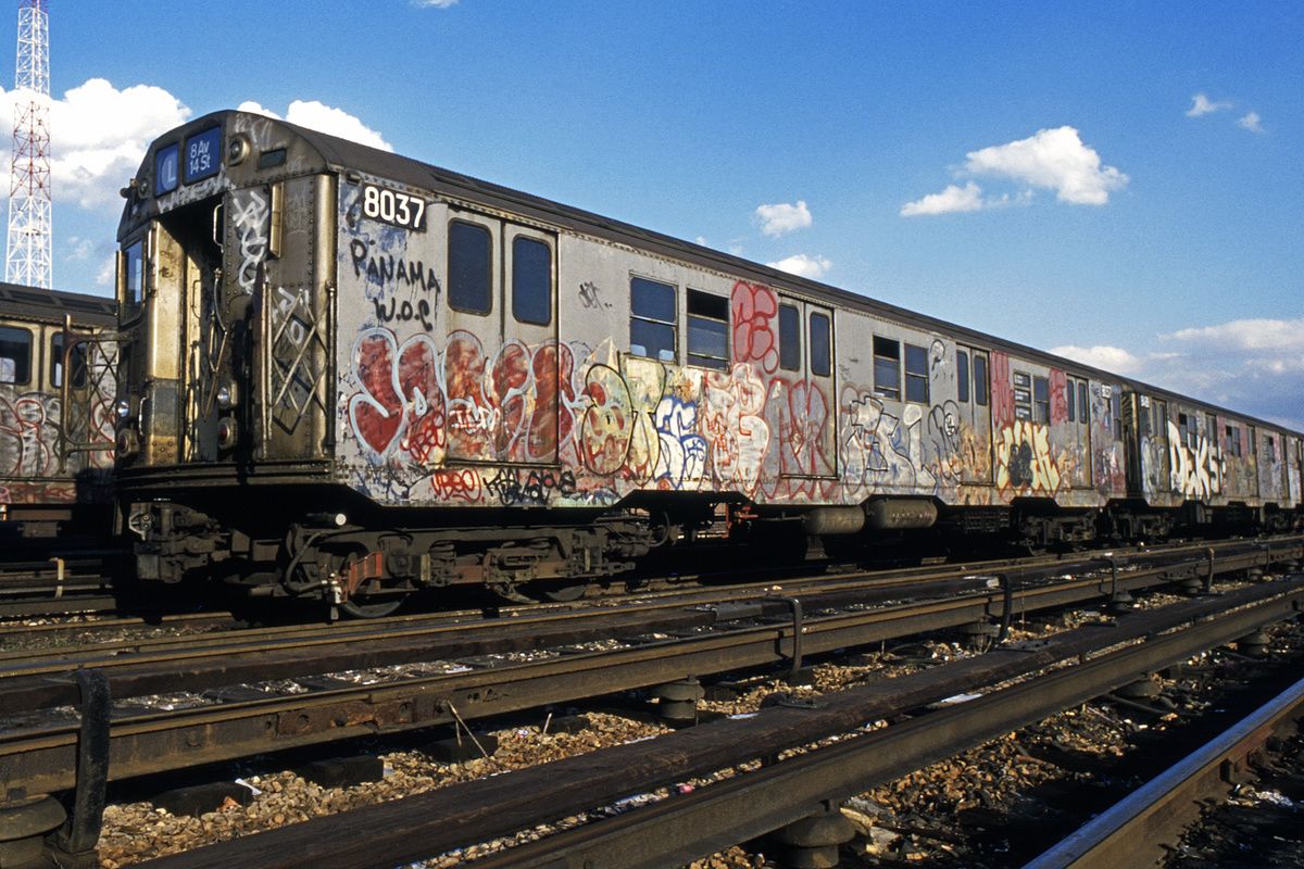 (279k, 1024x687)<br><b>Country:</b> United States<br><b>City:</b> New York<br><b>System:</b> New York City Transit<br><b>Location:</b> Rockaway Parkway (Canarsie) Yard<br><b>Car:</b> R-27 (St. Louis, 1960)  8037 <br><b>Collection of:</b> Collection of nycsubway.org <br><b>Notes:</b> 1980s<br><b>Viewed (this week/total):</b> 9 / 4662