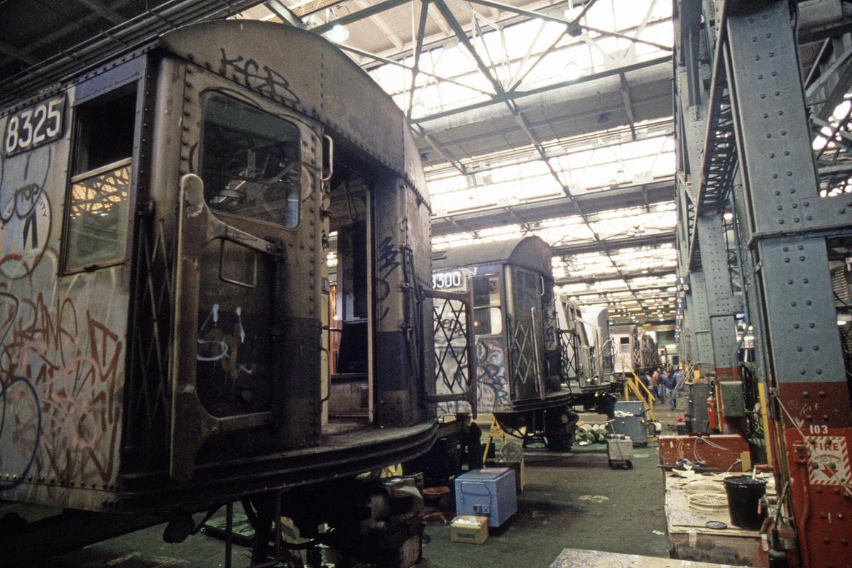 (299k, 1024x688)<br><b>Country:</b> United States<br><b>City:</b> New York<br><b>System:</b> New York City Transit<br><b>Location:</b> Coney Island Shop/Overhaul & Repair Shop<br><b>Car:</b> R-30 (St. Louis, 1961) 8325 <br><b>Collection of:</b> Collection of nycsubway.org <br><b>Notes:</b> 1980s<br><b>Viewed (this week/total):</b> 1 / 1699