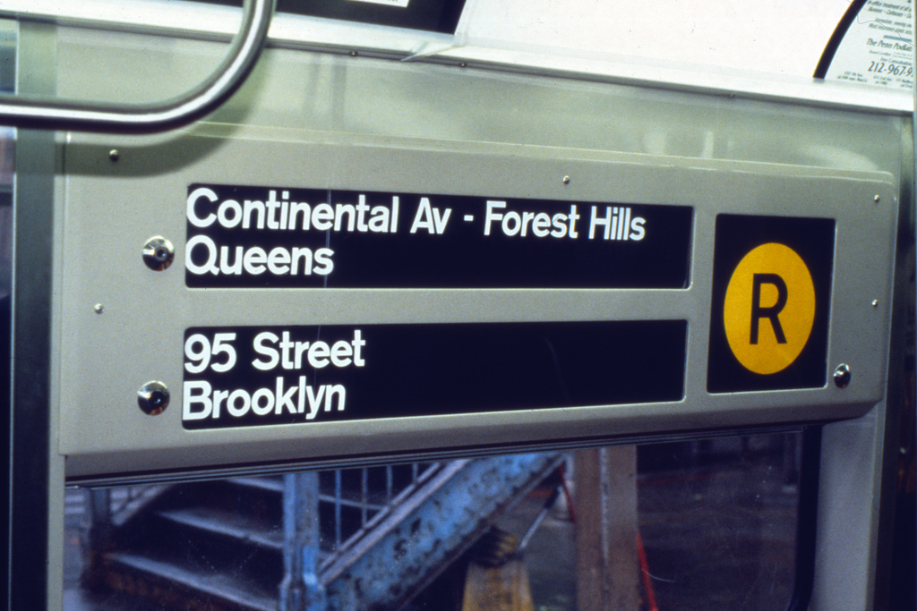 (220k, 1024x690)<br><b>Country:</b> United States<br><b>City:</b> New York<br><b>System:</b> New York City Transit<br><b>Route:</b> R<br><b>Car:</b> R-68/R-68A Series (Number Unknown) Interior <br><b>Collection of:</b> Collection of nycsubway.org <br><b>Notes:</b> 1980s- R to Continental Ave rollsign<br><b>Viewed (this week/total):</b> 1 / 2328